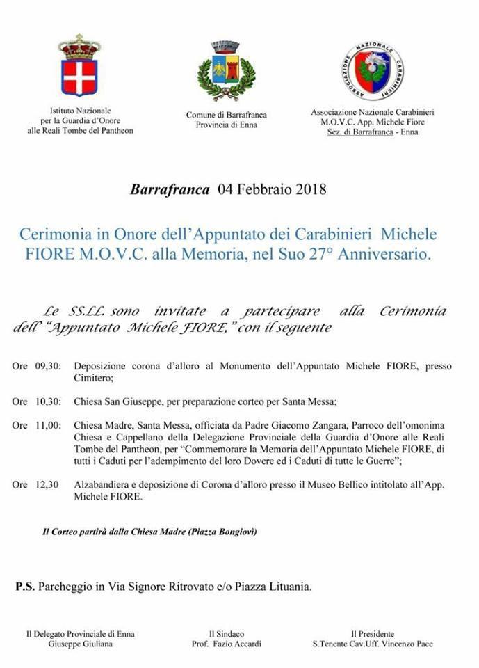 Cerimonia in Onore dell'Appuntato Michele Fiore MOVC alla Memoria - 27° Anniversario