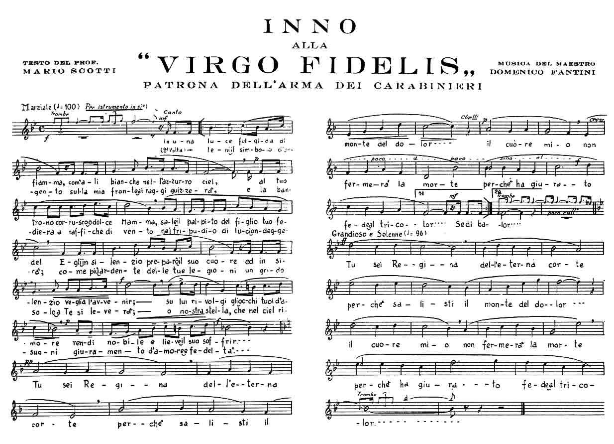 Spartito - Pentagramma Virgo Fidelis